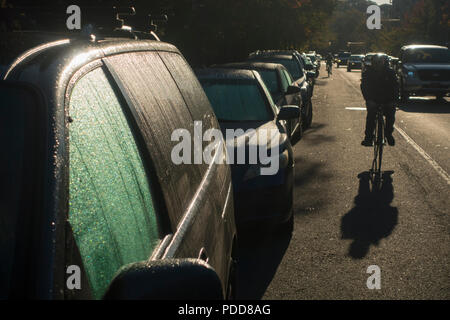 frost on cars in Brooklyn New York City - Stock Photo