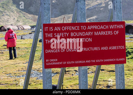 Warning sign at an abandoned whaling station in South Georgia - Stock Photo