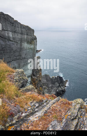 Ireland landscape cliff view on the ocean at West Cork - Stock Photo