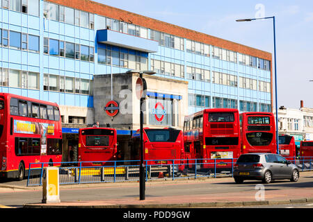 Morden Underground station and bus stop. London. - Stock Photo
