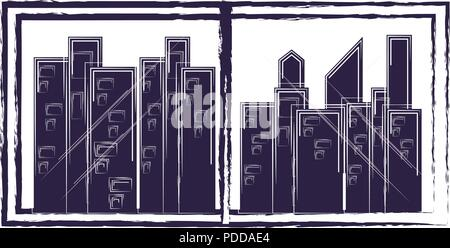 window with city view over white background, vector illustration - Stock Photo
