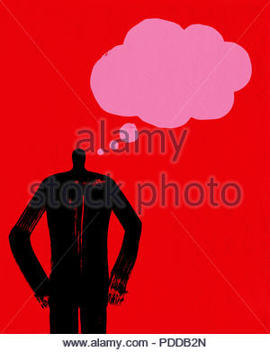 Business Man Thinking with Thought Bubble, Communication Concept, Manager, Creative Presentation, Career, Thinking, Blank Template, Contemplation - Stock Photo
