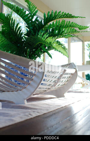 A fake green fern plant in a blue & white plant pot sits in a white cane oval basket. The table decor sits in the centre of a wooden dining table. - Stock Photo