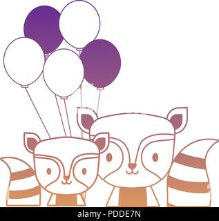 balloons and cute raccoons over white background, vector illustration - Stock Photo
