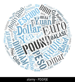 Background concept wordcloud illustration of currencies of the world - Stock Photo