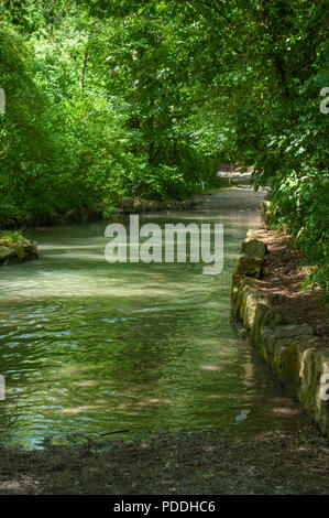 Ford on River Wylye at Kingston Deverill, Warminster, Wiltshire, UK. - Stock Photo