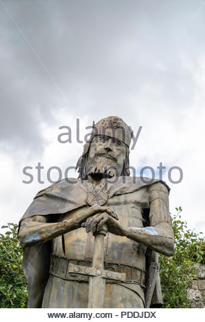 Statue of King Edward at Shaftesbury Abbey in Shaftesbury Dorset UK - Stock Photo