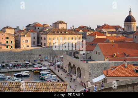 Boats on the harbor of old town Dubrovnik, Croatia, Europe - Stock Photo