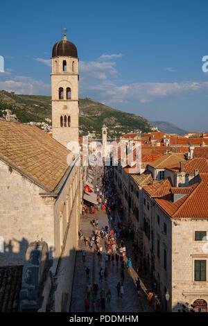 Aerial view of Stradun street in Dubrovnik, Croatia, Europe - Stock Photo