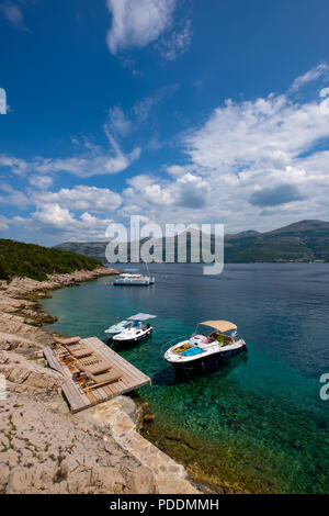 Small boats moored in the Adriatic Sea, Elafiti Island, Croatia, Europe - Stock Photo