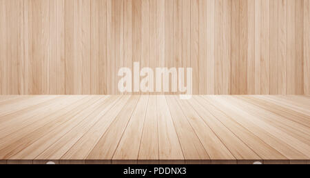 Empty wood table top on wood background for display or montage product - Stock Photo