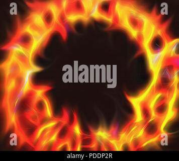 A digital abstract artwork depicting flames and a ring of fire. The color contrast from byellow to red, with deep texturing and firey shapes make an i - Stock Photo