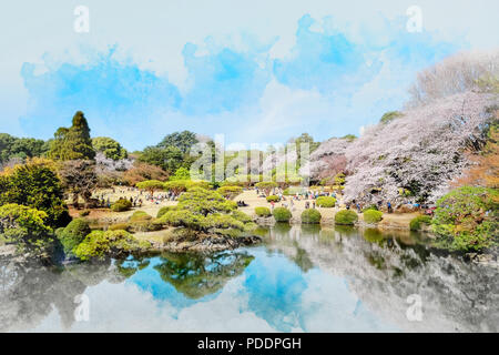 beautiful scenery with red leaf, blossom sakura, clear pond and bright vivid blue sky in spring cherry blossom season, Shinjuku Gyoen Park, Tokyo, Jap - Stock Photo
