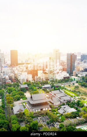 Business and culture concept - panoramic modern city skyline bird eye aerial view with zojo-ji temple shrine from tokyo tower under dramatic sunrise a - Stock Photo