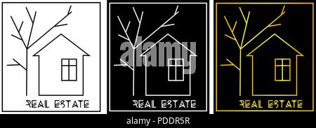 house and tree of lines, real estate minimalist logo - Stock Photo