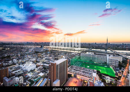 Business and culture concept - panoramic modern city skyline bird eye aerial view with Mountain Fuji and tokyo skytree under dramatic sunset glow and  - Stock Photo
