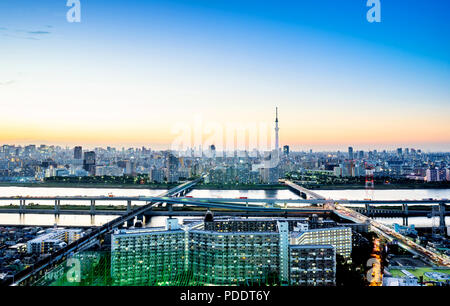 Business concept for real estate corporate construction - panoramic modern city skyline bird eye aerial night view with tokyo skytree under dramatic g - Stock Photo