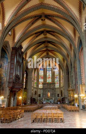 Interior of Cathedral Saint Jean Baptiste of Perpignan, Pyrénées-Orientales, Occitanie, France - Stock Photo