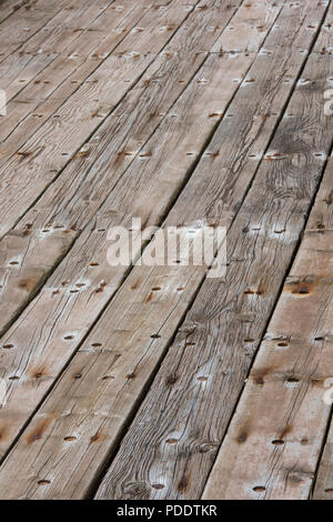 old wooden floorboards close-up abstract of deck planks. - Stock Photo