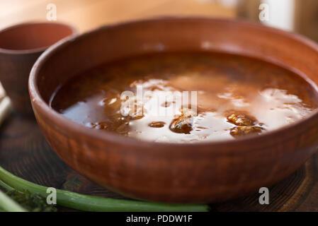 Borscht, a typical Ukrainian soup - Stock Photo