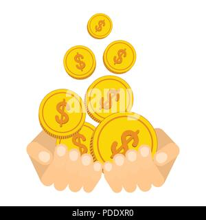 Hand catch falling gold money cash coins - Stock Photo