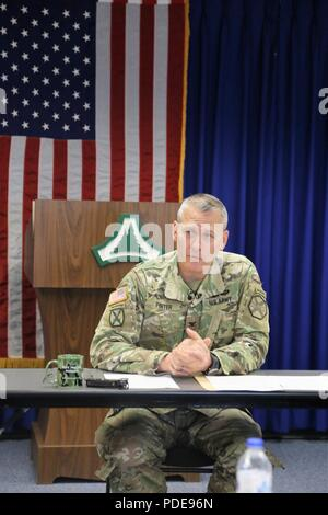 Garrison Commander Col. David J. Pinter Sr. participates in a press conference with local media May 14, 2018, at Fort McCoy, Wis. Pinter became the garrison commander in 2016 and is moving on to a new assignment. Pinter is an Iowa native. - Stock Photo