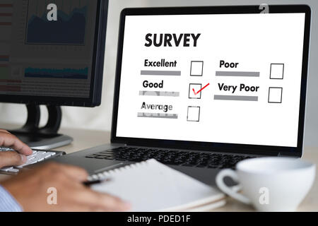 businessman SURVEY and Results Analysis Discovery Concept - Stock Photo