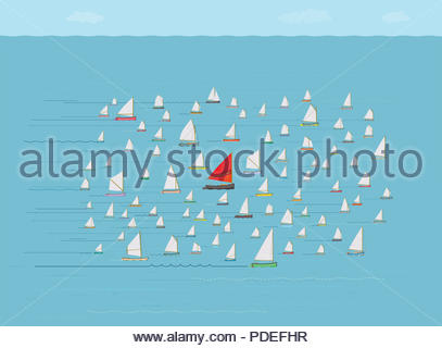 Go With The Flow Sailboat, Going along with the Crowd, Safety in Numbers, Nautical, Concepts and Ideas, Same Direction, Running with the Pack - Stock Photo