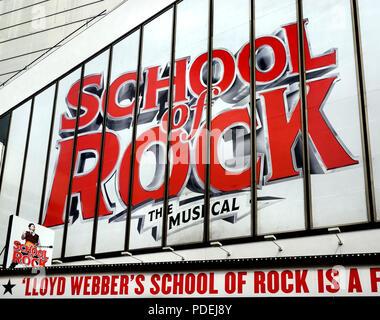School of Rock musical (Andrew Lloyd Webber) at the Gillian Lynne Theatre (formerly New London Theatre), 166 Drury Lane, London, England, UK. (Summer  - Stock Photo