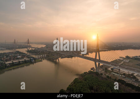 Bhumibol Bridge also known as the Industrial Ring Road Bridge is part of the Industrial Ring Road connecting southern Bangkok with Samut Prakan Provin - Stock Photo