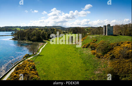 High view over a 15th century tower house of Audley's Castle - Stock Photo