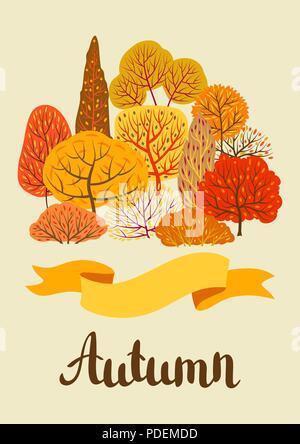 Background with autumn stylized trees. - Stock Photo