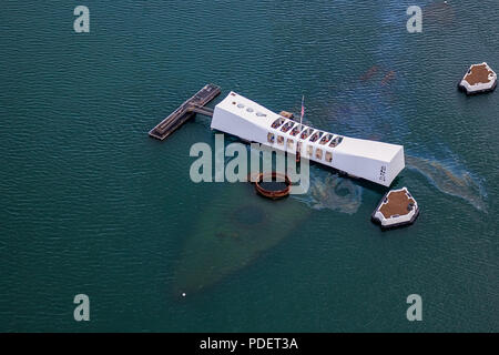 Aerial view of USS Arizona Memorial, World War II Valor In The Pacific National Monument in Pearl Harbor Honolulu Hawaii - Stock Photo