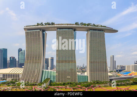Marina Bay Sands viewed from atop the Supertrees - Stock Photo
