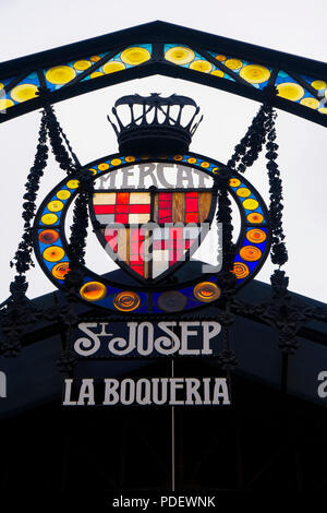 Barcelona, Spain Mercado de La Boqueria signboard. Sign of La Rambla entrance to the Mercat de Sant Josep de la Boqueria public market. - Stock Photo