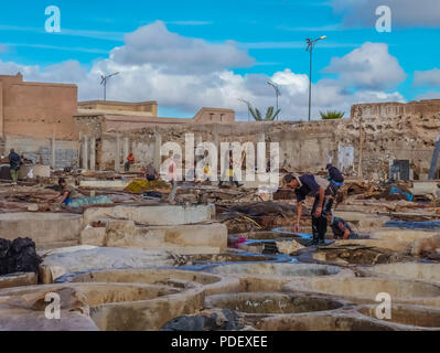 Marrakech, Morocco - December, 08, 2012: Worker handling hides at a tannery in Marrakech, Morocco - Stock Photo