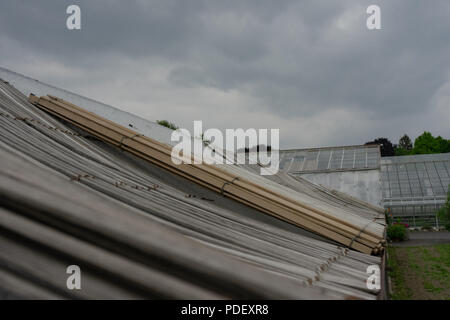 close up of shack with grey clouds in the back - Stock Photo