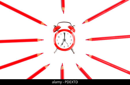 Background of clock on white sheet circled with pencil colors - Stock Photo