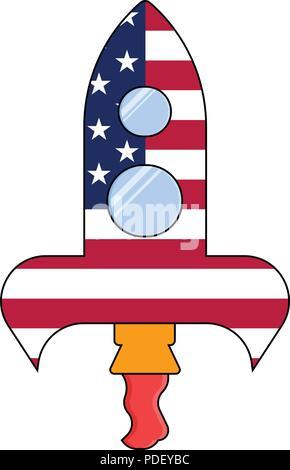 American rocket vector icon, Cosmonautics Day isolated on white background - Stock Photo