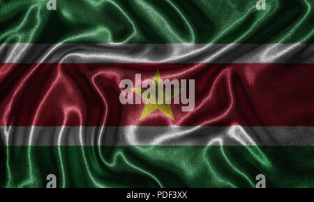 Suriname flag - Fabric flag of Suriname country, Background and wallpaper of waving flag by textile. - Stock Photo