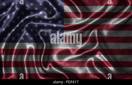 United States flag - Fabric flag of United States country, Background and wallpaper of waving flag by textile. - Stock Photo
