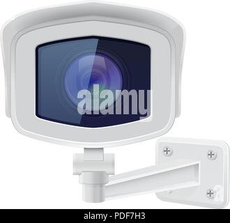 CCTV security camera. Front view. White surveillance system - Stock Photo