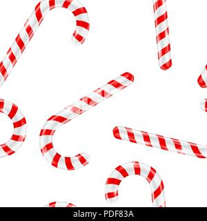 Christmas Striped Pattern With Candy Cane In Filled Frame Format