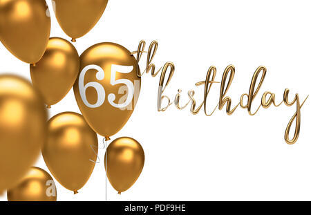 3D Render Gold Happy 65th Birthday Balloon Greeting Background Rendering