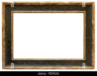 Eleganter und schicker Bilderrahmen in schwarz mit Goldrändern im Querformat Stock Photo