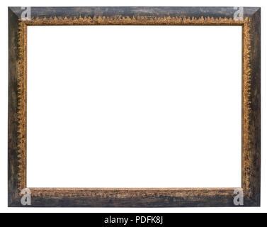 Eleganter und schicker Bilderrahmen in schwarz mit Goldrand im Querformat Stock Photo