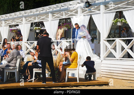 Saint-Petersburg. RUSSIA. 03.08 2018. The wedding of a Russian naval officer. On the Baltic sea. Summer - Stock Photo