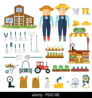 Garden tools, machinery for harvesting and farmers character. - Stock Photo