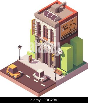 Vector isometric old bank building - Stock Photo