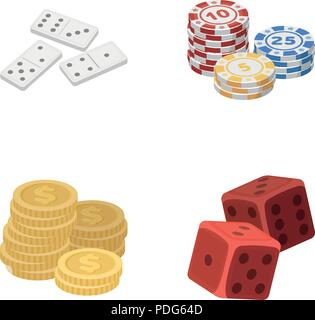 Domino bones, stack of chips, a pile of mont, playing blocks. Casino and gambling set collection icons in cartoon style vector symbol stock illustrati - Stock Photo